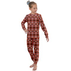 Plaid Pattern Red Squares Skull Kids  Long Sleeve Set  by HermanTelo
