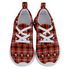 Plaid Pattern Red Squares Skull Running Shoes by HermanTelo