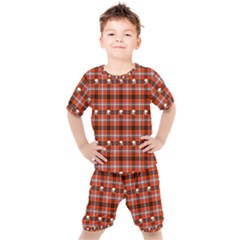 Plaid Pattern Red Squares Skull Kids  Tee And Shorts Set by HermanTelo