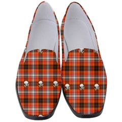 Plaid Pattern Red Squares Skull Women s Classic Loafer Heels