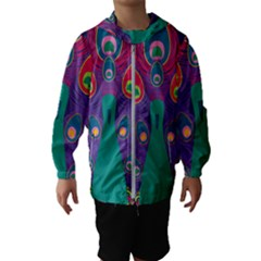 Peacock Bird Animal Feathers Kids  Hooded Windbreaker