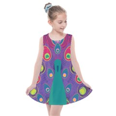 Peacock Bird Animal Feathers Kids  Summer Dress by HermanTelo