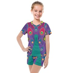 Peacock Bird Animal Feathers Kids  Mesh Tee And Shorts Set