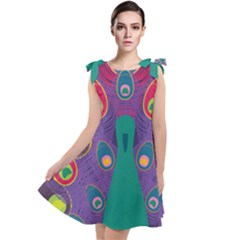 Peacock Bird Animal Feathers Tie Up Tunic Dress by HermanTelo