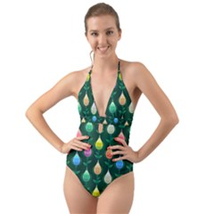Tulips Seamless Pattern Background Halter Cut Out One Piece Swimsuit