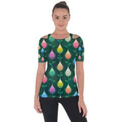 Tulips Seamless Pattern Background Shoulder Cut Out Short Sleeve Top