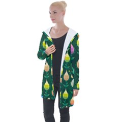 Tulips Seamless Pattern Background Longline Hooded Cardigan by HermanTelo