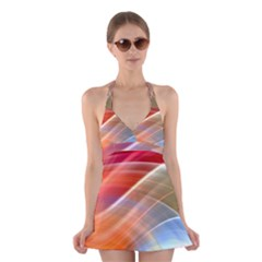 Wave Background Pattern Abstract Halter Dress Swimsuit