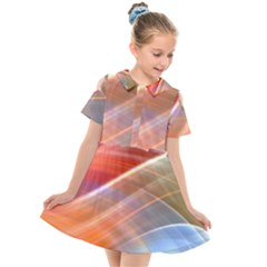 Wave Background Pattern Abstract Kids  Short Sleeve Shirt Dress