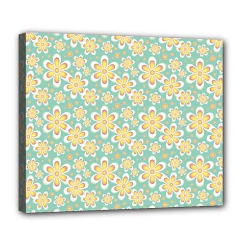Seamless Pattern Floral Pastels Deluxe Canvas 24  X 20  (stretched)