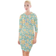 Seamless Pattern Floral Pastels Quarter Sleeve Hood Bodycon Dress by HermanTelo