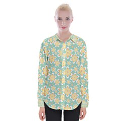 Seamless Pattern Floral Pastels Womens Long Sleeve Shirt by HermanTelo
