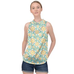 Seamless Pattern Floral Pastels High Neck Satin Top by HermanTelo