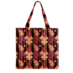 Seamless Pattern Plaid Zipper Grocery Tote Bag