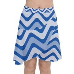 Waves Wavy Lines Chiffon Wrap Front Skirt