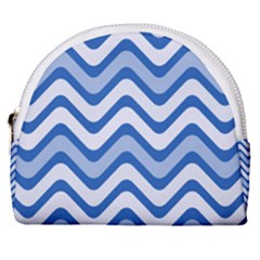 Waves Wavy Lines Horseshoe Style Canvas Pouch by HermanTelo