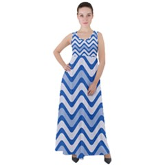 Waves Wavy Lines Empire Waist Velour Maxi Dress by HermanTelo