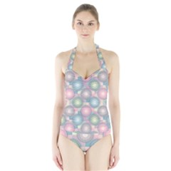 Seamless Pattern Pastels Background Halter Swimsuit by HermanTelo