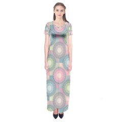Seamless Pattern Pastels Background Short Sleeve Maxi Dress by HermanTelo