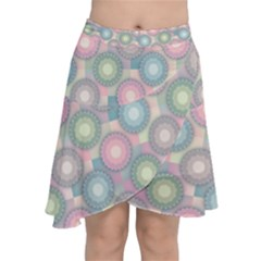 Seamless Pattern Pastels Background Chiffon Wrap Front Skirt