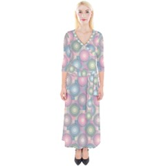 Seamless Pattern Pastels Background Quarter Sleeve Wrap Maxi Dress by HermanTelo