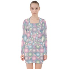 Seamless Pattern Pastels Background V Neck Bodycon Long Sleeve Dress