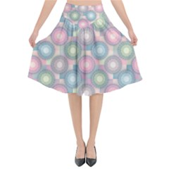 Seamless Pattern Pastels Background Flared Midi Skirt by HermanTelo