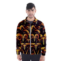 Stylised Horns Black Pattern Men s Windbreaker
