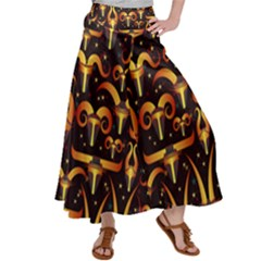 Stylised Horns Black Pattern Satin Palazzo Pants