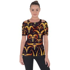 Stylised Horns Black Pattern Shoulder Cut Out Short Sleeve Top