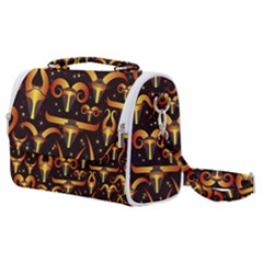 Stylised Horns Black Pattern Satchel Shoulder Bag