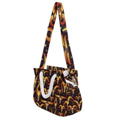 Stylised Horns Black Pattern Rope Handles Shoulder Strap Bag by HermanTelo
