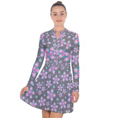 Seamless Pattern Flowers Pink Long Sleeve Panel Dress by HermanTelo