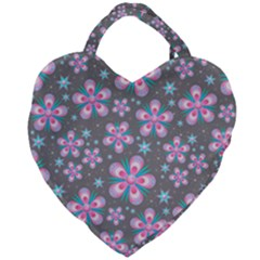Seamless Pattern Flowers Pink Giant Heart Shaped Tote by HermanTelo