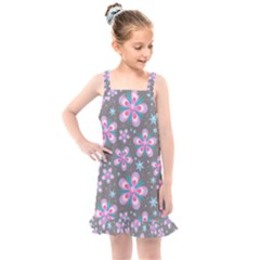Seamless Pattern Flowers Pink Kids  Overall Dress by HermanTelo