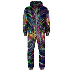 Wave Line Colorful Brush Particles Hooded Jumpsuit (men)  by HermanTelo