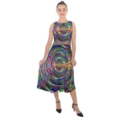 Wave Line Colorful Brush Particles Midi Tie Back Chiffon Dress by HermanTelo