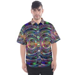 Wave Line Colorful Brush Particles Men s Short Sleeve Shirt by HermanTelo