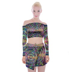 Wave Line Colorful Brush Particles Off Shoulder Top With Mini Skirt Set