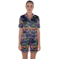 Wave Line Colorful Brush Particles Satin Short Sleeve Pyjamas Set by HermanTelo