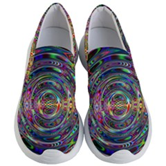 Wave Line Colorful Brush Particles Women s Lightweight Slip Ons by HermanTelo