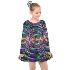 Wave Line Colorful Brush Particles Kids  Long Sleeve Dress by HermanTelo