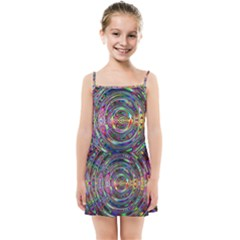 Wave Line Colorful Brush Particles Kids  Summer Sun Dress by HermanTelo