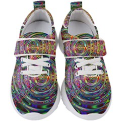 Wave Line Colorful Brush Particles Kids  Velcro Strap Shoes by HermanTelo