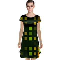 Abstract Plaid Cap Sleeve Nightdress