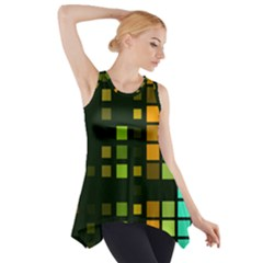 Abstract Plaid Side Drop Tank Tunic