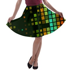 Abstract Plaid A-line Skater Skirt