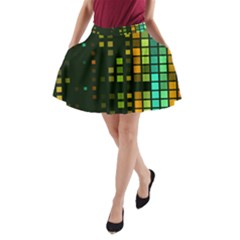 Abstract Plaid A-line Pocket Skirt