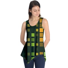 Abstract Plaid Sleeveless Tunic