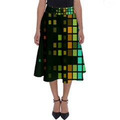 Abstract Plaid Perfect Length Midi Skirt